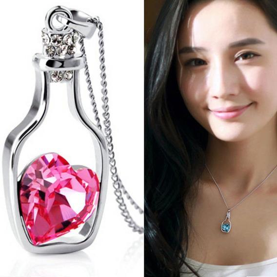 Colar Feminino Pingente De Garrafa Coração De Cristal Rosa