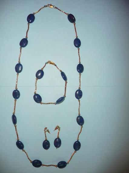 Hermoso Juego Collar Pulsera Aretes Lapis Lazuli Y Chapa