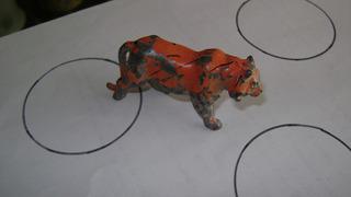 Antiguo Tigre De Plomo Hueco Tipo Eg Toys Juguet Selva L 12