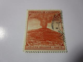 Volcan Galeras Pasto 30c Estampilla Colombia L5