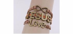 Pulseira Masculino Feminino Couro Jesus Love Bronze Bd1255