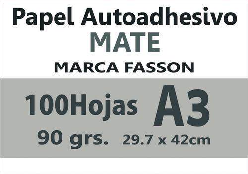 Papel Autoadhesivo A3 Mate 100 Hojas P/stikers