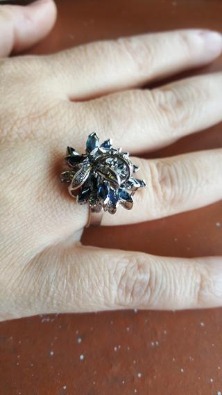 Anillo Antiguo Con Zafiros , Diamantitos Y Algunas Circonias