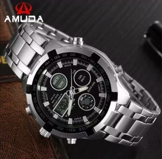 Relógio Prata Masculino Amuda Luxo Quartzo