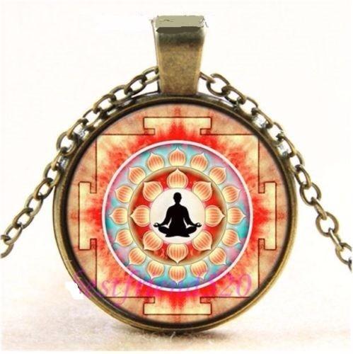 Colar Místico Flor De Lotus Yoga Reiki Buda Mantra Cura