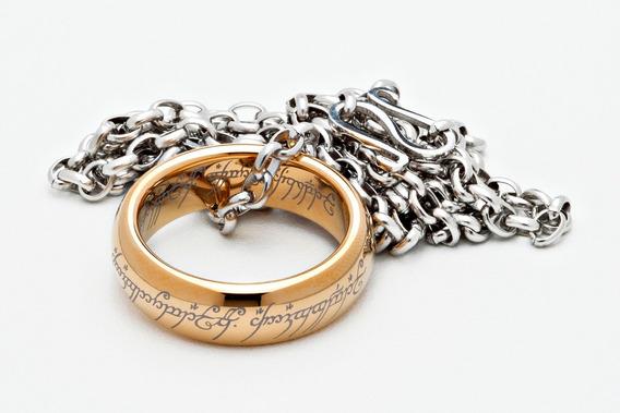 O Um Anel - Senhor Dos Anéis, Tungstênio Ouro + Corrente