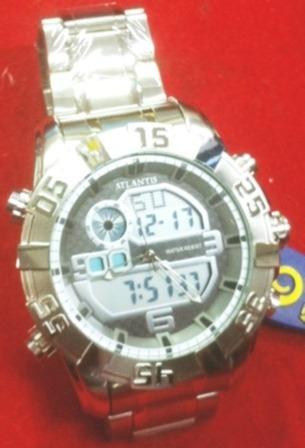 Relógio Original Atlantis Ana Digi 3361 Aço Prata A3361