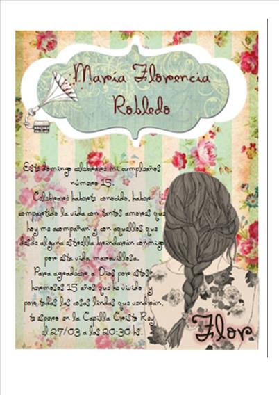 Invitacion 15 Años Editable Shabby Chic Vintage