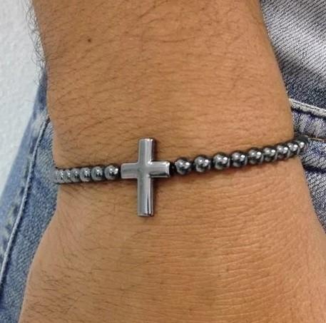 Pulseira Masculina Feminina Pedras Hematita Crucifixo Cruz
