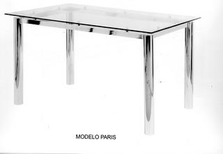Mesa Cocina Comedor Vidrio. Base Cromada 3 . 140 X 85. Paris