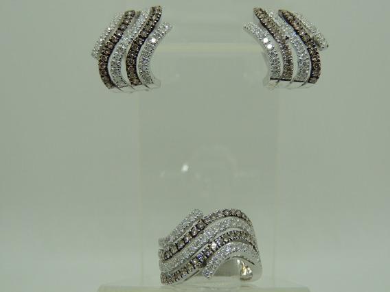 Glitter Conjunto Brinco E Anel Ouro E 462 Pontos Diamantes!