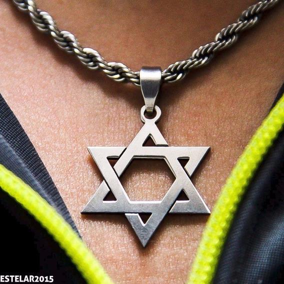 Corrente Aço + Pingente Estrela De Davi Selo De Salomão