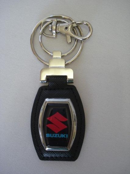 Chaveiro Luxo Suzuki Alça De Couro E Argola Metal