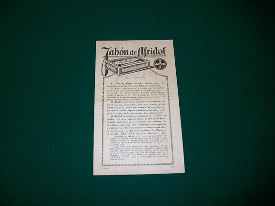 Jabon De Afridol . Antiguo Panfleto Publicitario .
