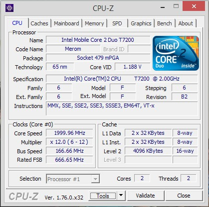 Processador Intel Core 2 Duo T7200 2ghz