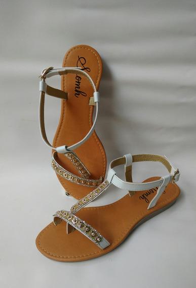 Calzado Sandalia Plana Beige Elegante Comoda Envio Gratis