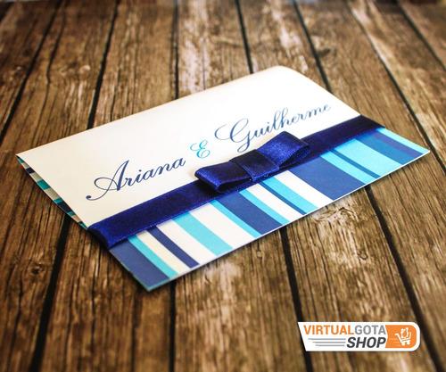 Imagem 1 de 6 de 100 Convites De Casamento Azul Royal Com Listras Com Tag