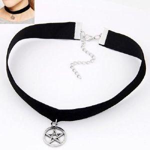 Collar De Terciopelo Pentaculo Pentagrama Estrella Rokds
