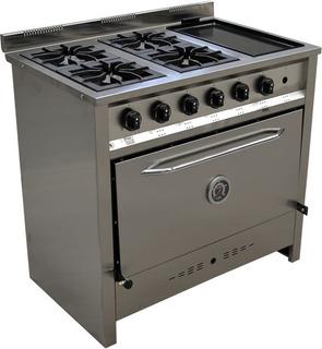 Cocina Industrial Gastroequip 4 Hornallas Con Bifera 003/27
