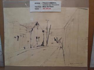Desenho Bico De Pena Paulo Amaral Largo Dos Venesianos 1979