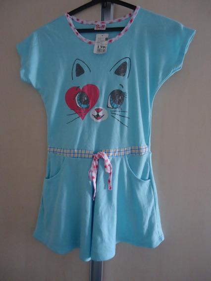 Vestido Infantil Menina Gatinho 4 A 6 Anos Novo