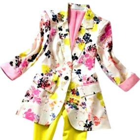 Blazer Em Seda Com Estampa Floral   Forrado Em Seda Rosa