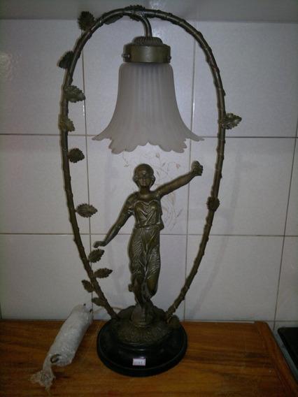 Escultura Antiga Em Bronze-luminária De Mesa-cupula (1088)