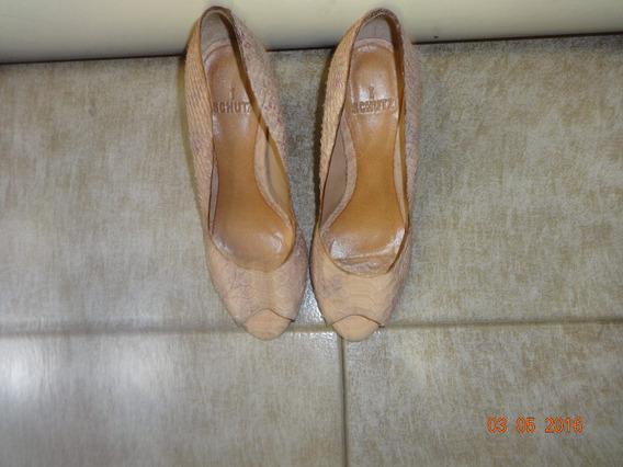 Sapato Peeptoe Croco Rosa Salto