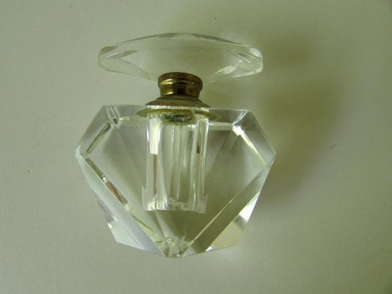 Antiguo Perfumero Toilette Cristal Facetado Tapa Rosca