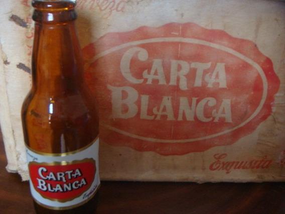 Antiguo Carton De Cerveza Carta Blanca Con 25 Botellas 1955