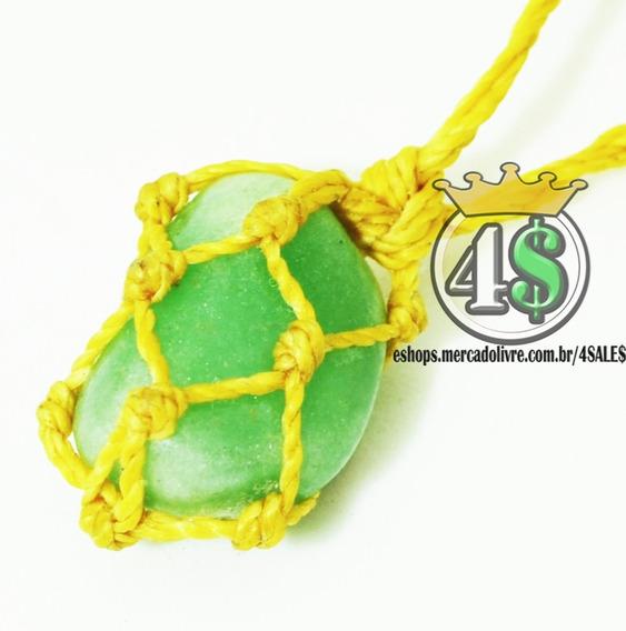 Colar De Pedra Amazonita Verde Com Fio Bege Hippie Fio Cru