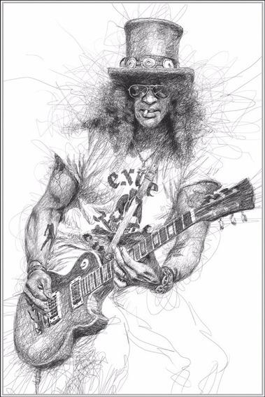 Poster Slash 60x90cm Rock Guns Roses Arte Enfeite Para Casa