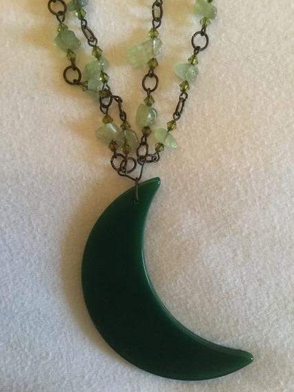 Colar De Pedras Longo Com Meia Lua Em Pedra Verde Novo