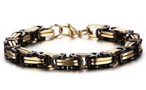 Bracelete Pulseira Quadrada Bizantino Preta E Dourada