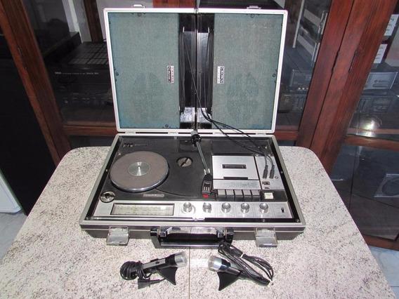Maleta Som 3x1 Crown Década 70 Completa Microfones Gradiente