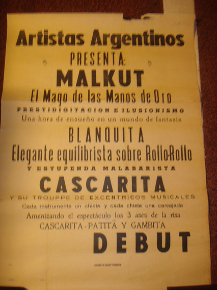 Antiguo Afiche De Calle De Papel Artistas Argentinos