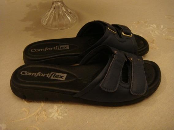 Sandalia Tamanco Anabela Comfortflex Azul Tam. 36 Nova