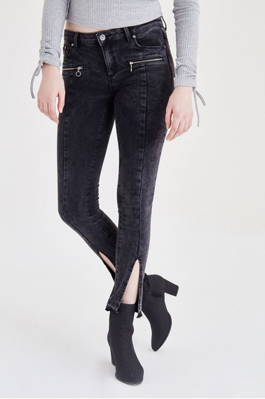 Calças Black Skinny Jean Com Ziper (feminino) 16kox-punkie/x