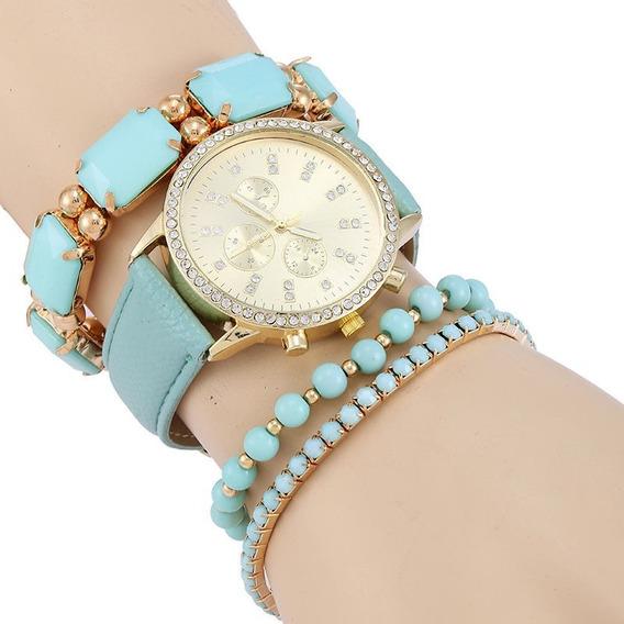 Relógio Feminino Braceletes Pronta Entrega