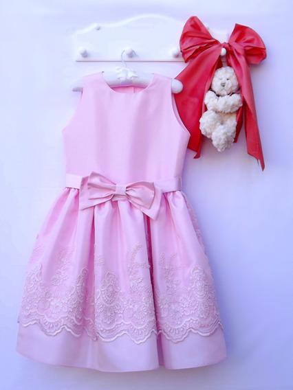 Vestido Infantil De Festa Tam 06 Tafetá Com Forro E Renda