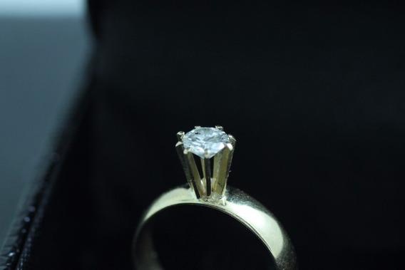 Anel Solitário Com Diamante 45 Ponto Ouro 18k