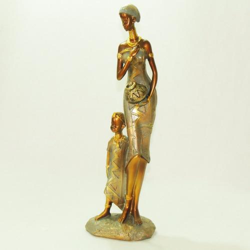Boneca Africana Mãe E Filho Resina Negra Estátua Estatueta