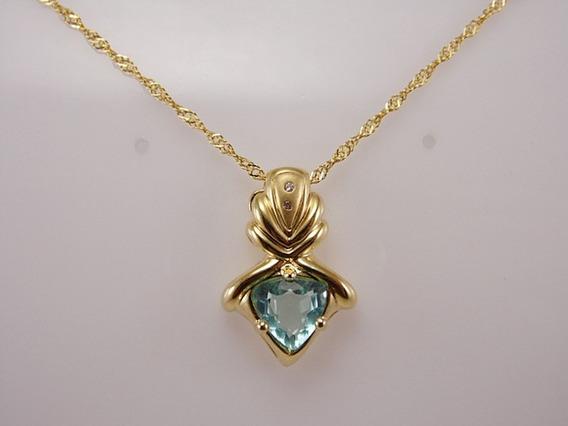 Corrente Folheado A Ouro- Zirconia Azul, Detalhe Em Stras