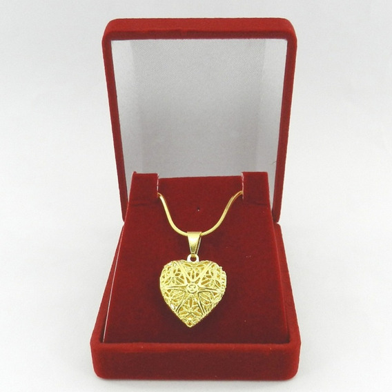 Corrente Feminina 50cm 1mm Relicario 2cm Folheado Ouro Cr317