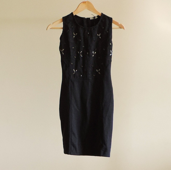 Vestido Preto Basico Com Bordado - Para Festas - Feminino