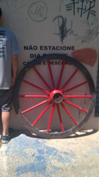 Gigante 1.30m Alt. Roda Ferro Antiga Carruagem Orig Carroça