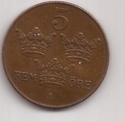 Suecia Moneda De 5 Ore Año 1923 Escasa Excelente