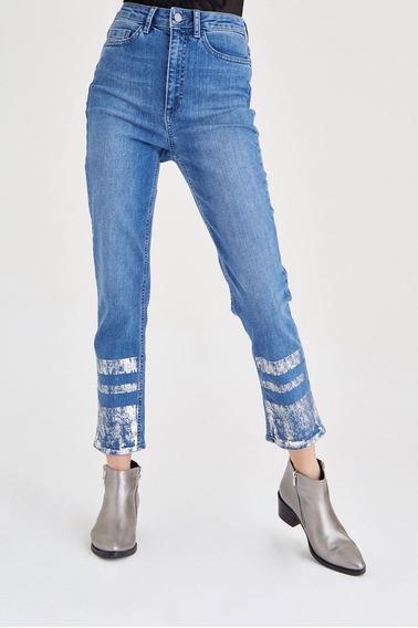 Calças (feminino) Blue Metallic Printed Jean
