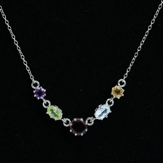 Colar De Prata Feminino Cordão + Pedras Preciosas Ajustável