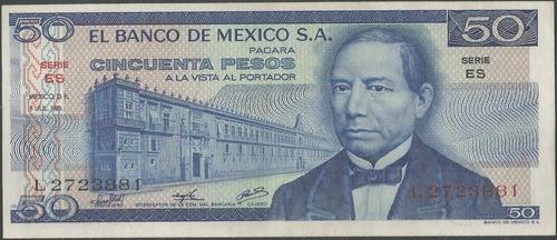 Imagen 1 de 2 de Mexico 50 Pesos 8 Jul 1976 Serie Es P65b